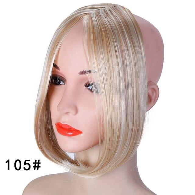 HOUYAN, модные длинные волосы на заколках спереди, боковая бахрома, накладные волосы, настоящие натуральные синтетические волосы с челкой - Цвет: 105