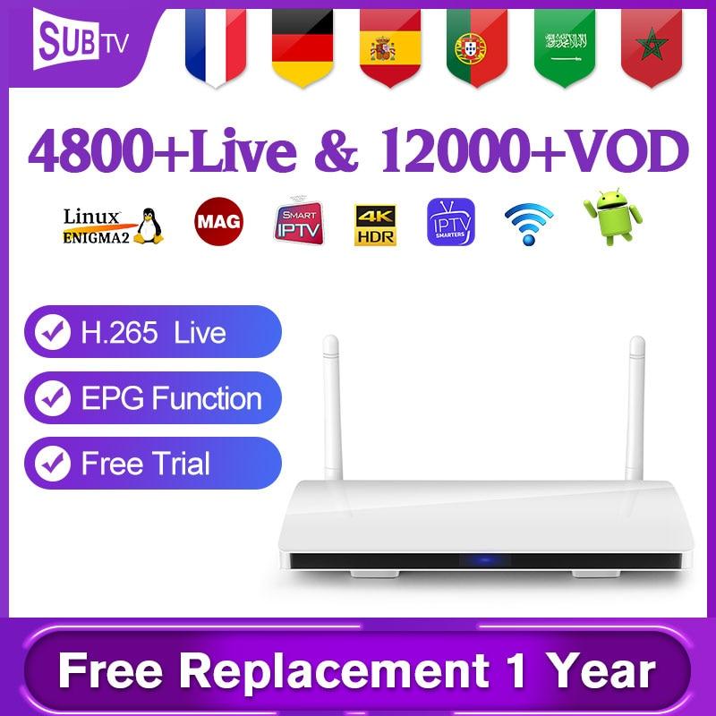 Arabic France IP TV 1 Year SUBTV Set Top Box Leadcool R6 Android 8.1 1+8G 4K H.265 Decoder IPTV Netherlands Italian Spain IP TV