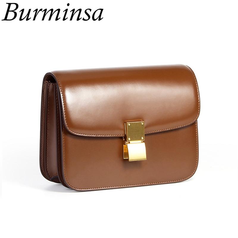 Burminsa กล่องกระจกของแท้หนังผู้หญิงกระเป๋า 2 ขนาดขนาดเล็กสุภาพสตรีไหล่กระเป๋าล็อคออกแบบ Flap Crossbody กระเป๋าฤดูร้อน 2019-ใน กระเป๋าสะพายไหล่ จาก สัมภาระและกระเป๋า บน   1