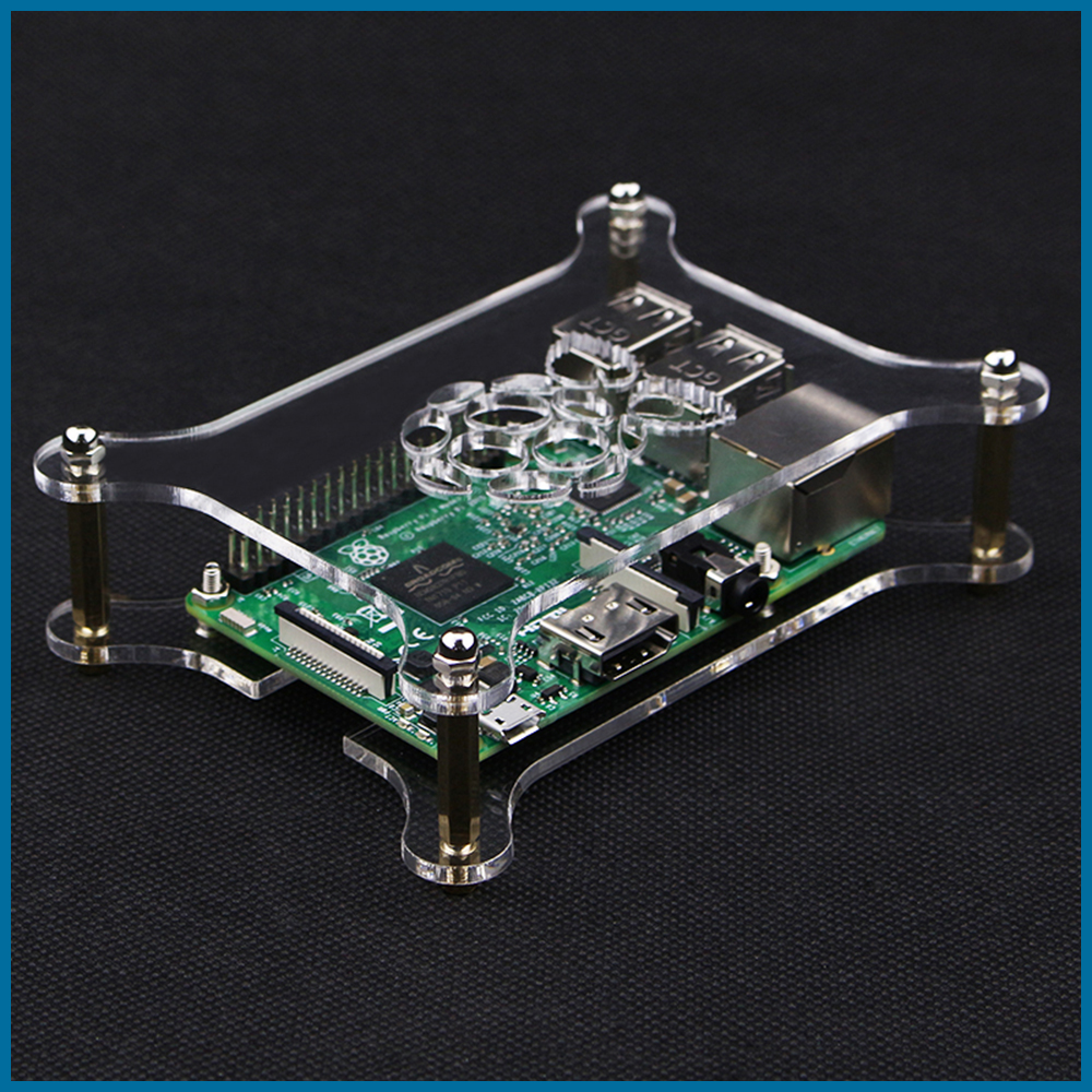 3 Clear Transparent  Arcylic Case Enclosure Box Shell for Raspberry Pi 2 B+