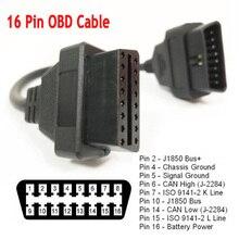 Universal 30cm carro obd2 cabo de extensão 16 pinos obdii obd 2 eobd estender 16pin fêmea para conector masculino para ferramenta de diagnóstico do carro