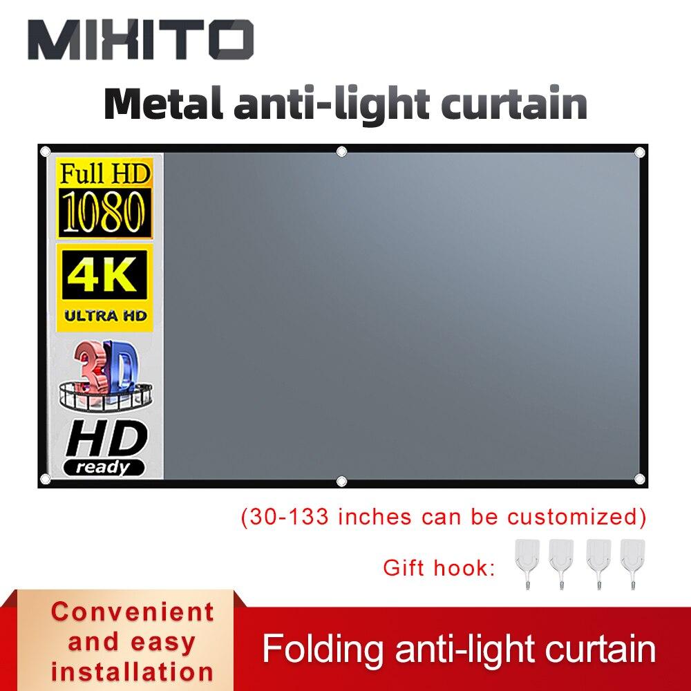 MIXITO 16:9 проектор анти-светильник Шторы Экран 100 120 дюйма 3d HD Портативный проекции Экран с отверстиями для использования вне помещения
