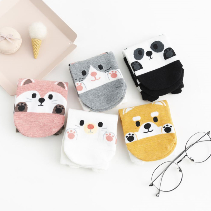 Panda Fox Rabbit Dog Autumn Winter Fashion Animal Women Cotton Socks Casual Happy Funny Socks Korea Harajuku Kawaii Cute Girls