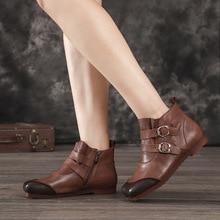 Artdiya Original Autumn and Winter New Flat Bottom Women Boots Genuine Leather Buckle Ankle Soft Sole Comfortable Handmade