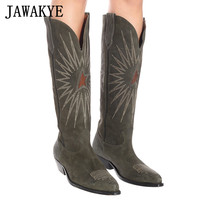 New suede Embroidery knee high boots Women army green point toe kitten heel Long Boots Winter cowboy knight boots Woman booties