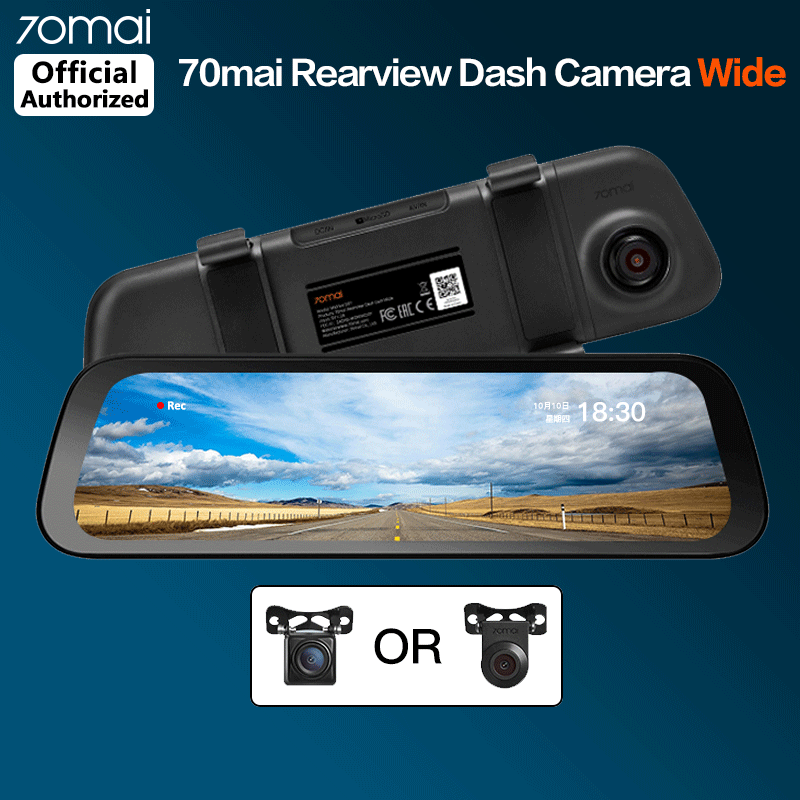 70mai Rearview Dash Cam Wide 70 mai Car Camera Recorder Front and Rear Android Mirror DVR