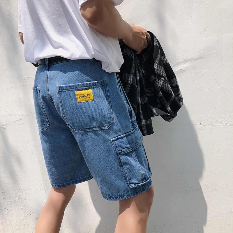 2020 estilo de verano suelto holgado Denim jeans cortos para hombres moda Streetwear Hip Hop Cargo Shorts bolsillo Bermuda hombre azul LBZ100