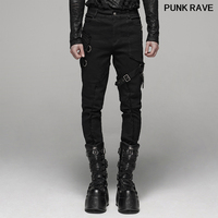 Punk rock Metal chain Personality Men Pencil Pants fashion Handsome Daily Casual belt Long black Trousers PUNK RAVE WK 388XCM