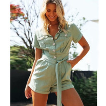 TEELYNN green Cotton denim Casual overalls for women playsuit 2020 vintage Pockets short summer rompers jumpsuit boho jump suits(China)