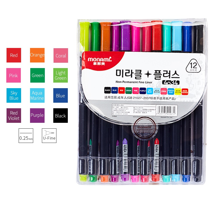 12pcs Monami <font><b>0.25mm</b></font> Ultra Fine Liner Liquid Ink color <font><b>Pens</b></font> Set Non-permanent Triangular barrel Art Drawing Fineliner School F740 image