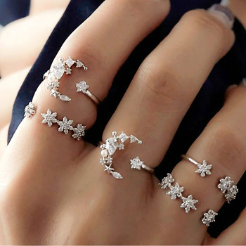 15 Pcs/set New Vintage Gold Coin Beauty Head Pattern Cross Love Heart Ring Set Women Wedding Anniversary Gift 4