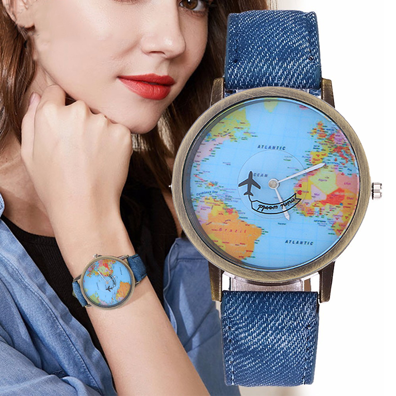 Women Watches Quartz Watch Fashion Global World Map Plane Imitation Denim Fabric Casual Ladies Watch Wristwatches Gift