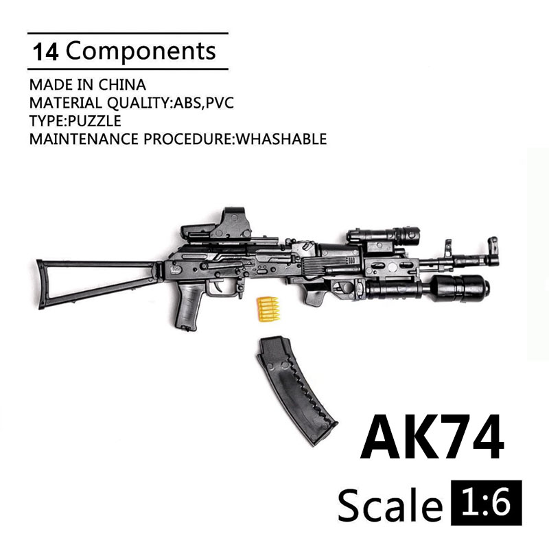 1:6 AK74 Assault Rifle 1/6 Soldier Weapon Plastic Assembled Gun Model For 12