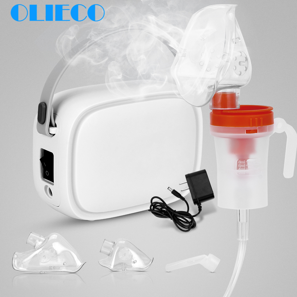 OLIECO Portable Compresser Nebulizer Inhaler Medication Kit Mini Handheld Home Child Kids Steaming Device Recharge Silent Light