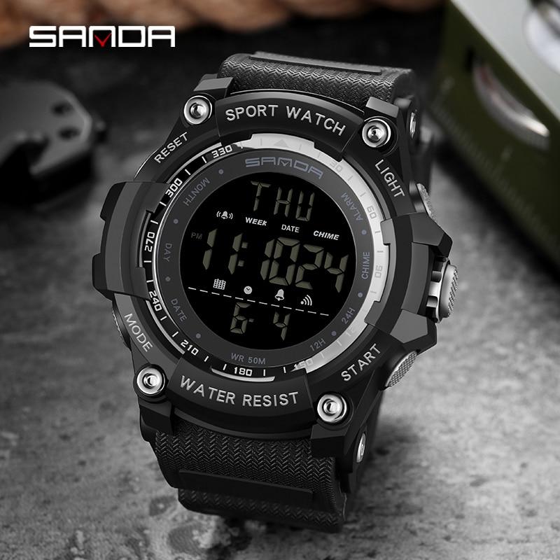 Top marque montre-bracelet 50M étanche hommes montres chronomètre Quakeproof numérique montre mode homme sport horloge SANDA montres cadeau 6
