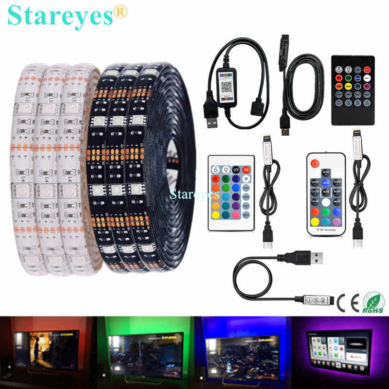 SMD 5050 RGB LED Strip DC 5V USB Lampu LED Strip Fleksibel IP20 IP65 Tahan Air Tape 1M 2M 3M 4M 5M Remote untuk TV Latar Belakang