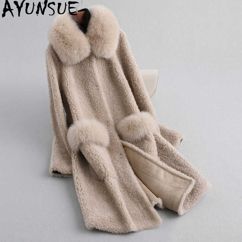 AYUNSUE 2019 Real Sheep Shearling Fur Coat Female Fox Fur Collar 100% Wool Coats Winter Jacket Women Korena Long Jackets MY4027
