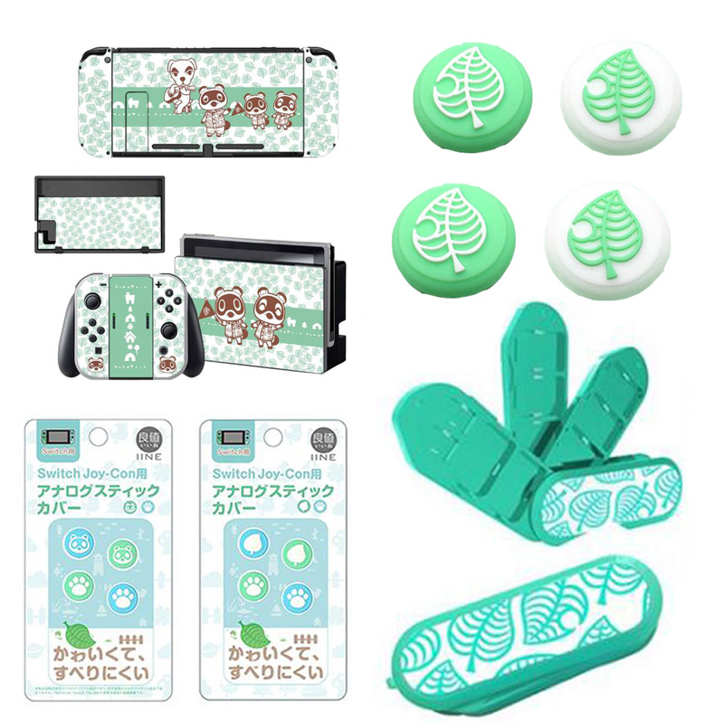 Animal Crossing Thumb Stick Grip Paw Cap Cover For Nintendo Switch NS Lite Screen Protector Sticker Skin Game Cards Box Case