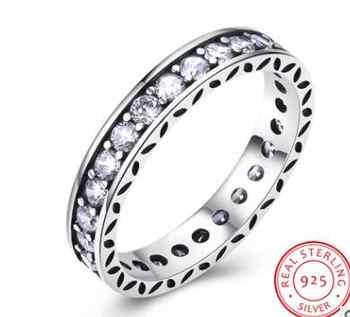CAR015 Luxus 100% 925 Sterling Silber Ringe für Frauen Hochzeit Engagement Acessories Zirkonia Schmuck