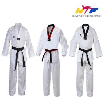 Taekwondo blanco tradicional, WTF uniforme básico niños adulto traje de Taekwondo Gi Dobok WTF uniforme ropa de entrenamiento uniformes con cuello en V