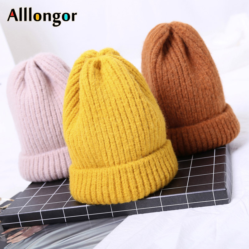 Fashion Autumn 2019 Winter Knitted Hat Women Black Beanie Rabbit Hair Czapka Zimowa Gorros Mujer Bonnet Femme Hiver Skullies Cap