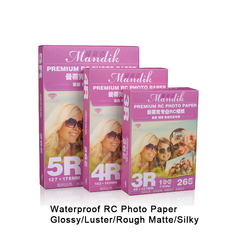 3r 4r 5r 100 Sheets / Pack 265g Rc Gloss Rough Matte Waterproof Inkjet Printer Photo Paper 6 Inch Photo Paper Office Paper