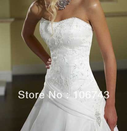 Free Shipping 2016 New Style Hot Sale Sexy Crystal Bride Wedding Sweet Princess Custom Size Embridery Wedding Dress