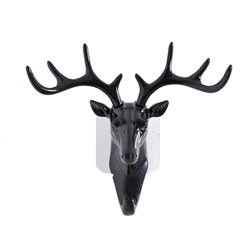 Bag Hanger Deer Horn Wall Mounted Hanging Hook Self Adhesive DIY Hanger Rack Elk Head Design Bag Keys Sticky Holder Organizer