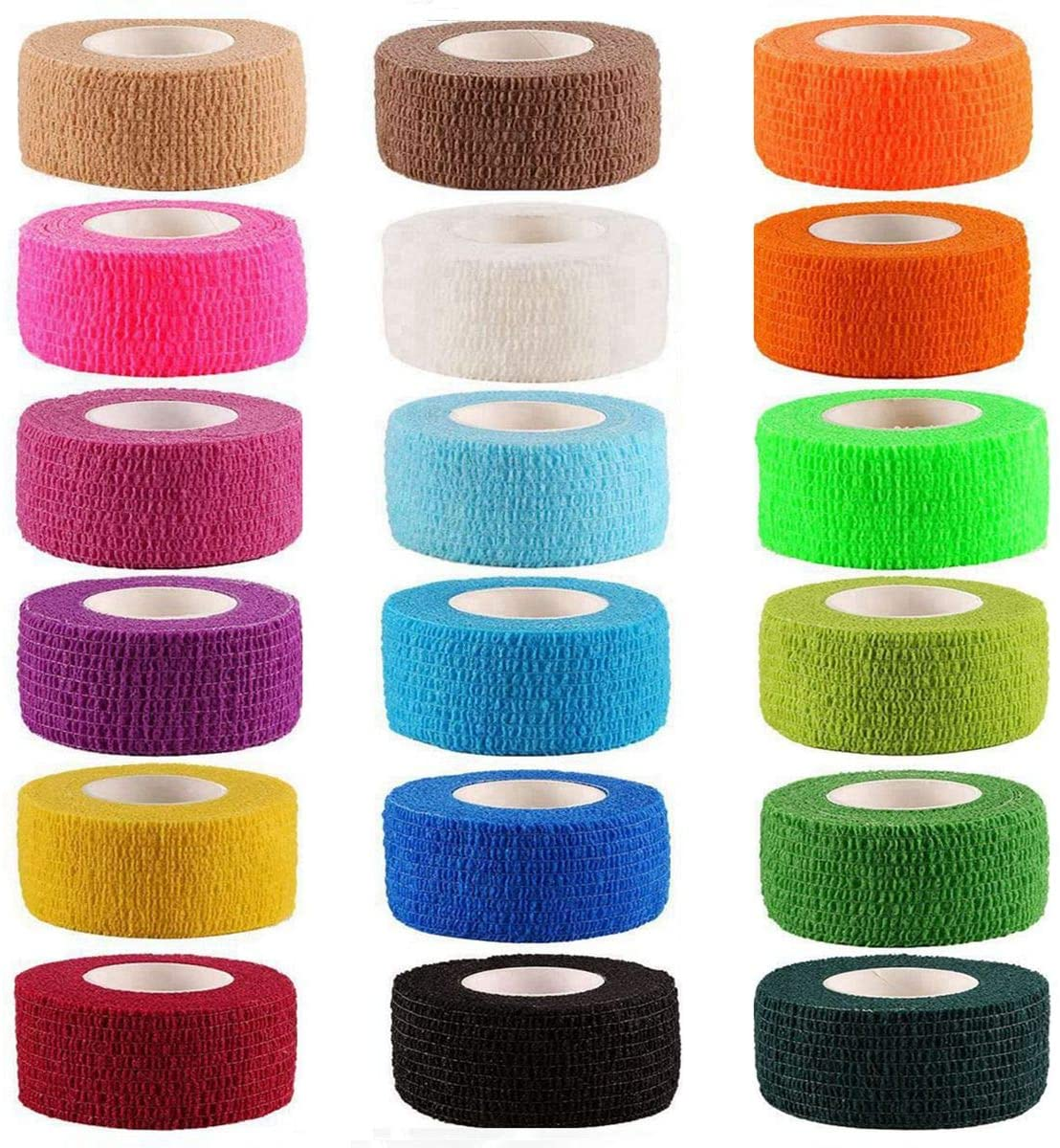 18 Color 1 Inches Self Adherent Cohesive Wrap Bandages First Aid Tape Elastic Self Adhesive Tape Vet Wrap for Cat, Dog
