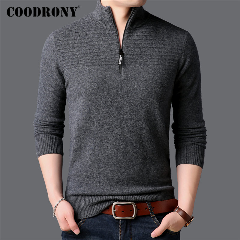 COODRONY Brand Sweater Men Fashion Turtleneck Pull Homme 100% Merino Wool Pullover Men 2019 New Winter Thick Warm Sweaters 93040