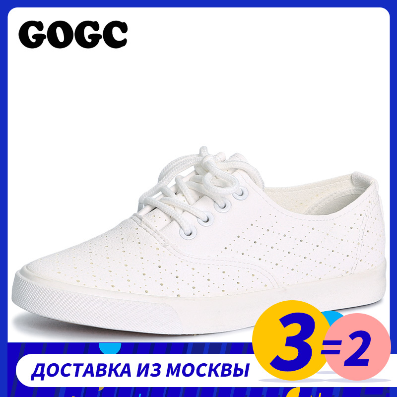 GOGC Breathable Leather Women Shoes Summer Women Causal Shoes With Hole Comfortable Sneakers Women Brand Flat Shoes Female G916