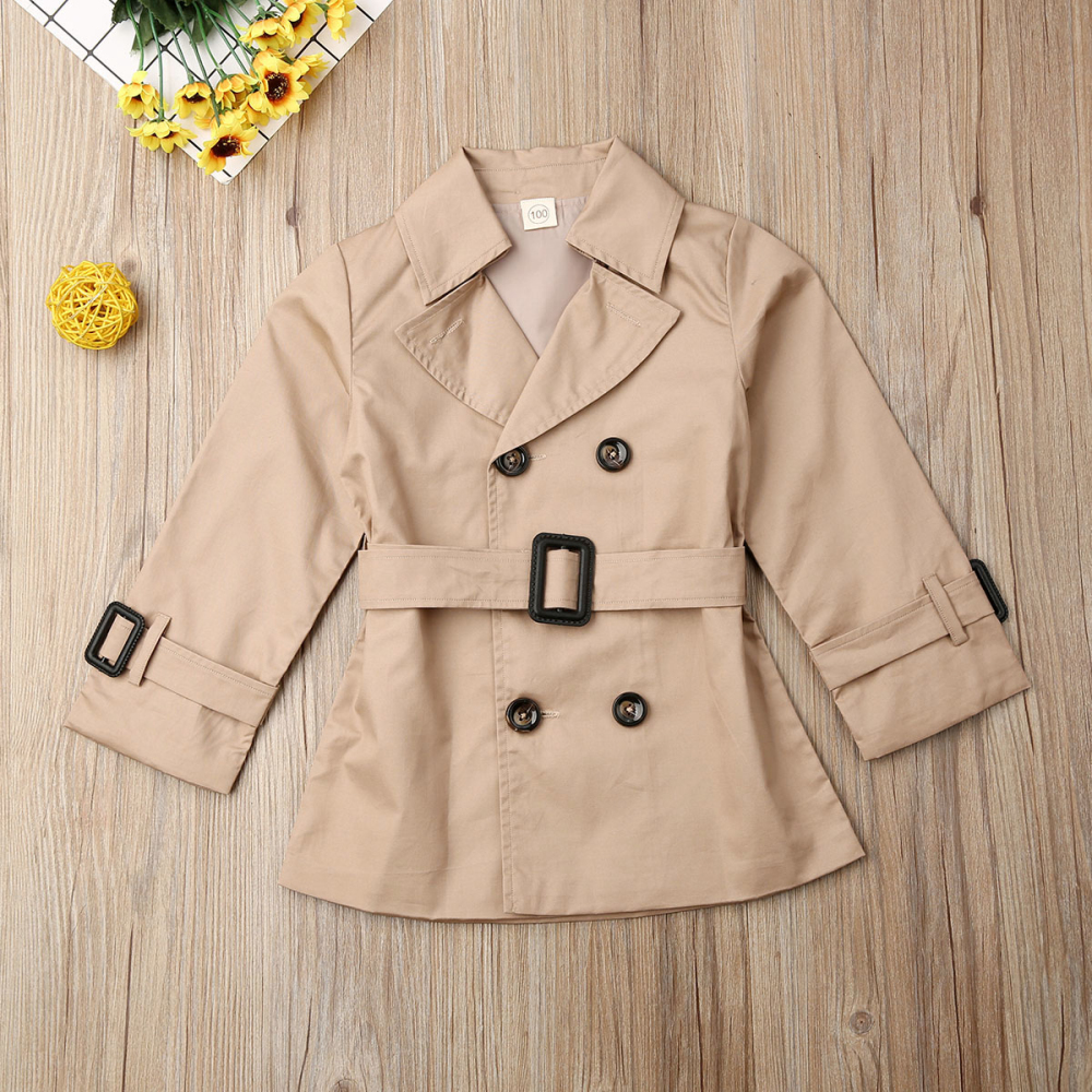 UK Kids Girl Long Sleeve Outwear Trench Coat Autumn Jacket Clothes Age 2-7 Years