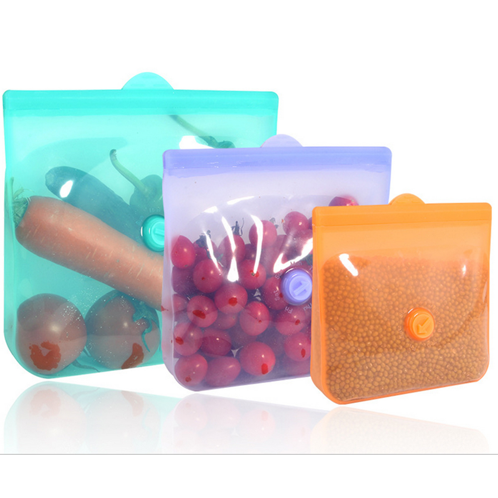 Food Grade Silicone Fresh-Keeping Bag Without Tie Rod With Date Pointer Food Packing Ziplock Bag Storage Bag