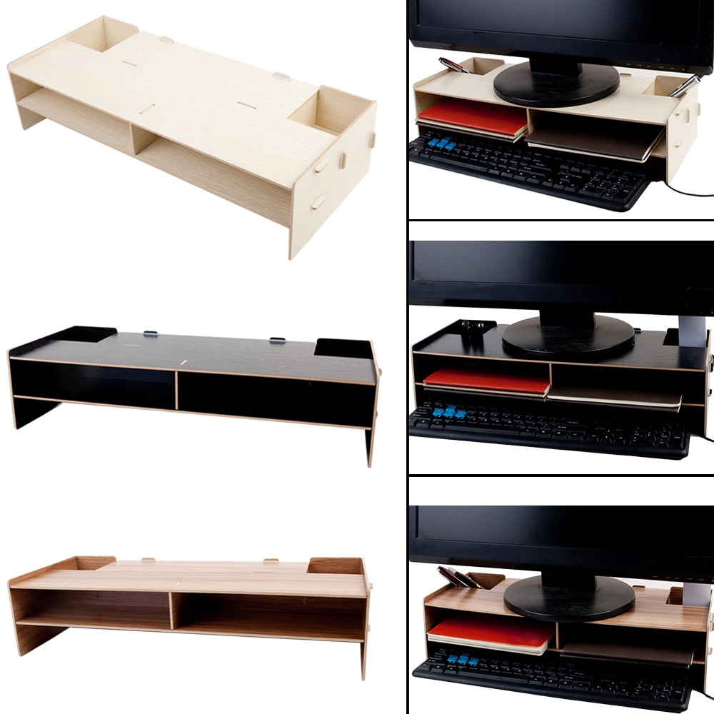 Besegad Computer Monitor Stand Decorative Wood Riser Monitor Over Keyboard Storage Box Case Desk Organizer Monitor Stand Base