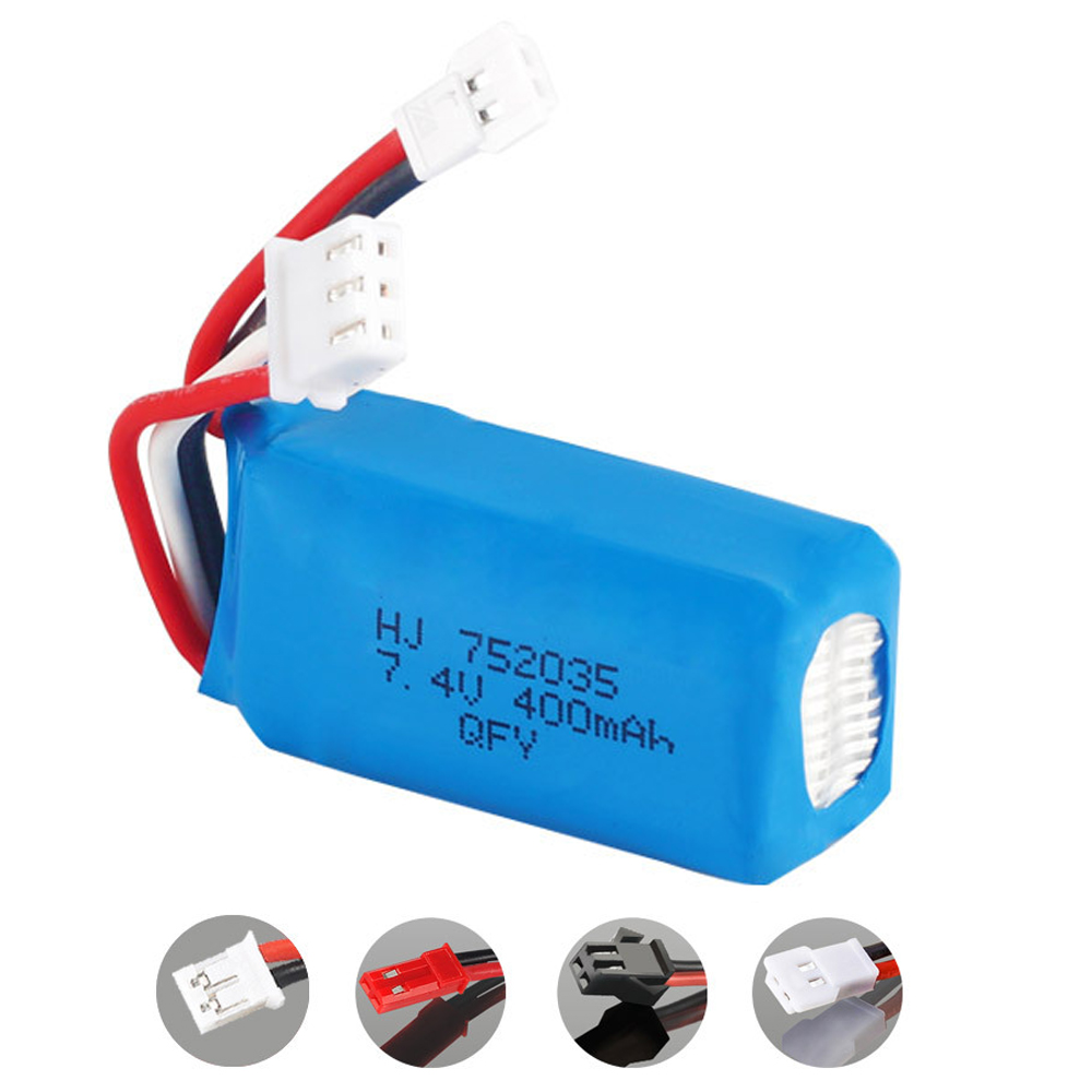 <font><b>7.4V</b></font> <font><b>400mAh</b></font> 2S <font><b>lipo</b></font> <font><b>Battery</b></font> For RC DM007 Airplane Quadcopter Drone Helicopter Toy Parts <font><b>7.4V</b></font> high quality <font><b>battery</b></font> SM/JST/XH2.54 image