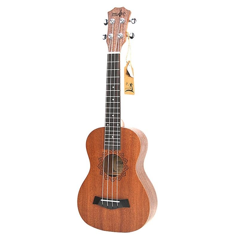 21 Inch Ukulele Sapele Soprano Beginner Ukulele Guitar Dolphin Pattern Ukulele Mahogany Neck Delicate Tuning Peg 4 Strings Wood