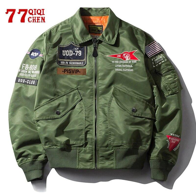 Bomber Jacket Men Spring Autumn Streetwear Air Force Coats Male Embroidery Stand Collar Windbreaker Hip Hop Chaqueta Hombre|Jackets| - AliExpress