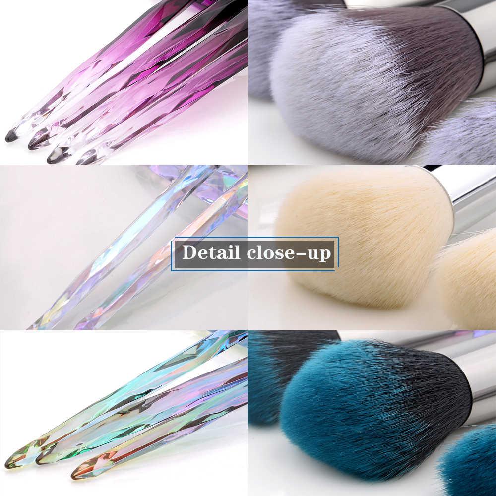 FLD 10 pièces ensemble de pinceaux de maquillage professionnel cosmétique Blush poudre fond de teint brosse ombre à paupières lèvre sourcil diamant Kit de maquillage pinceaux