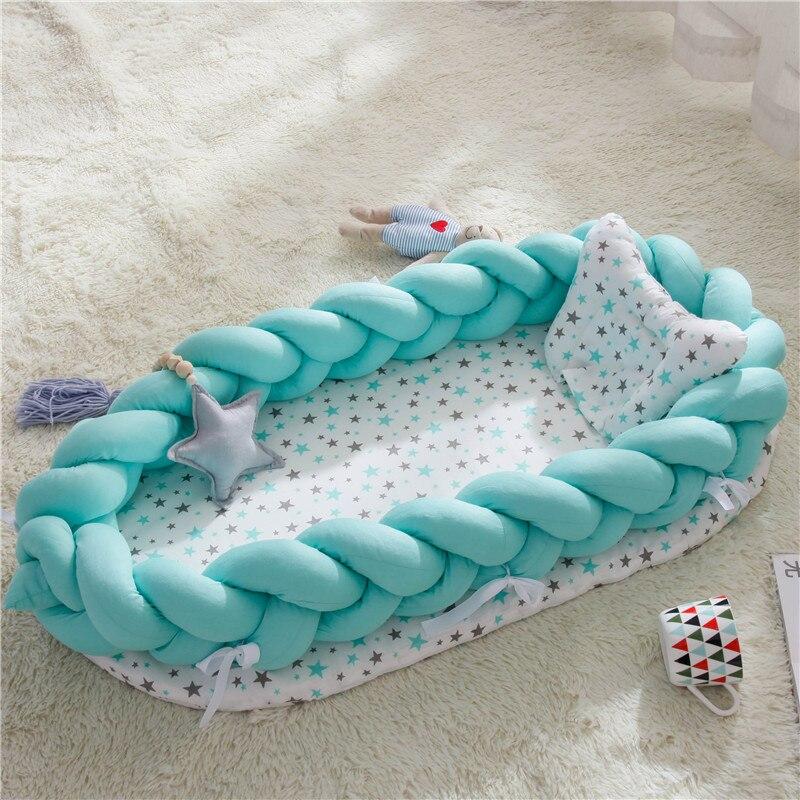 Newborn Bassinet Bumper Bassinet Bed Portable Baby Crib Lounger For Newborn Crib Cradle Infant Toddler Sleep Nest Pillow Drop