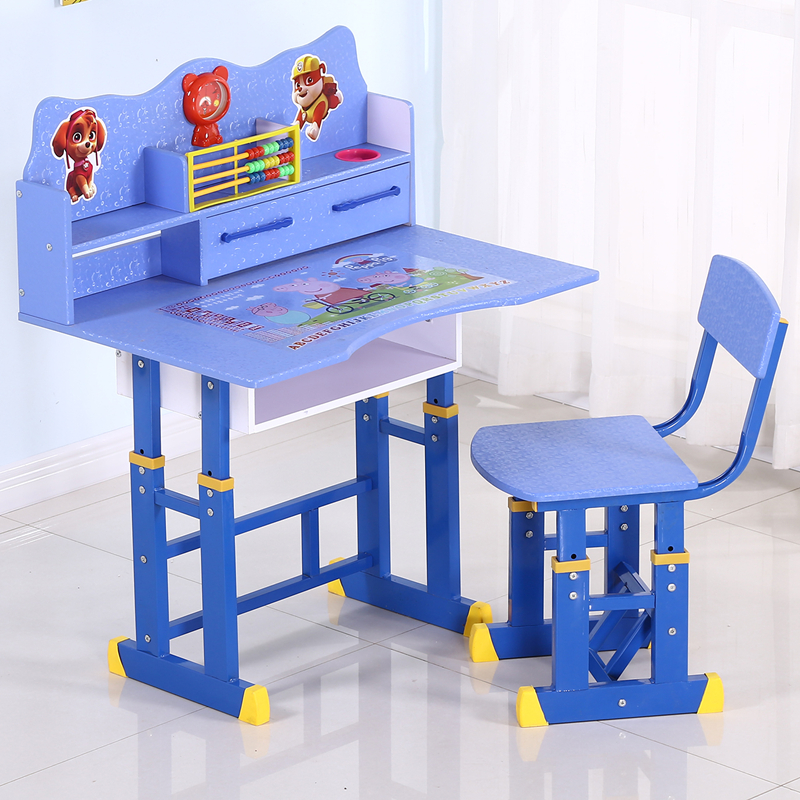 Children's desks and cabinets combination Boys and girls learning desks and students writing desks and chairs can rise and fall|  - title=