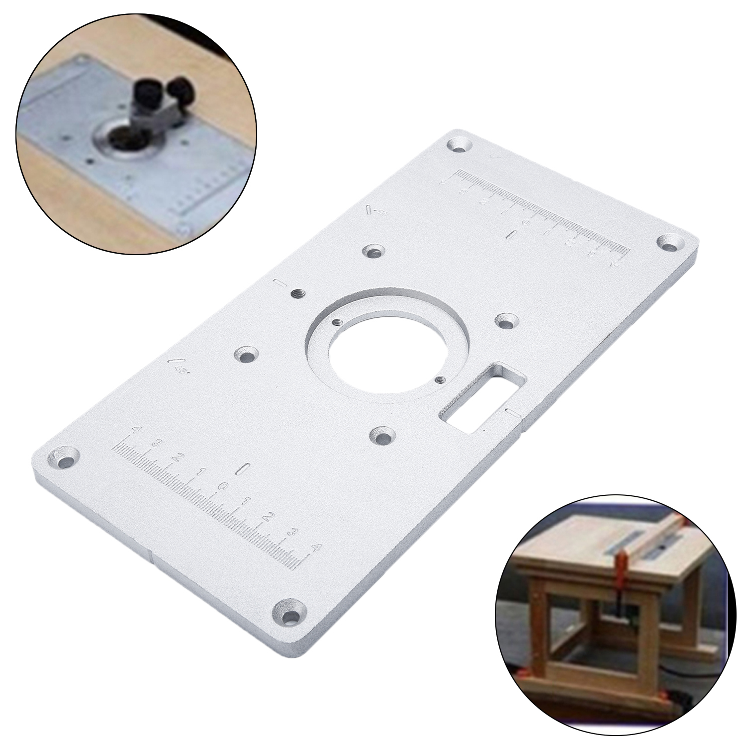 New Aluminum Insert Plate With 4 Rings Screws For Woodworking Benches Hot Useful