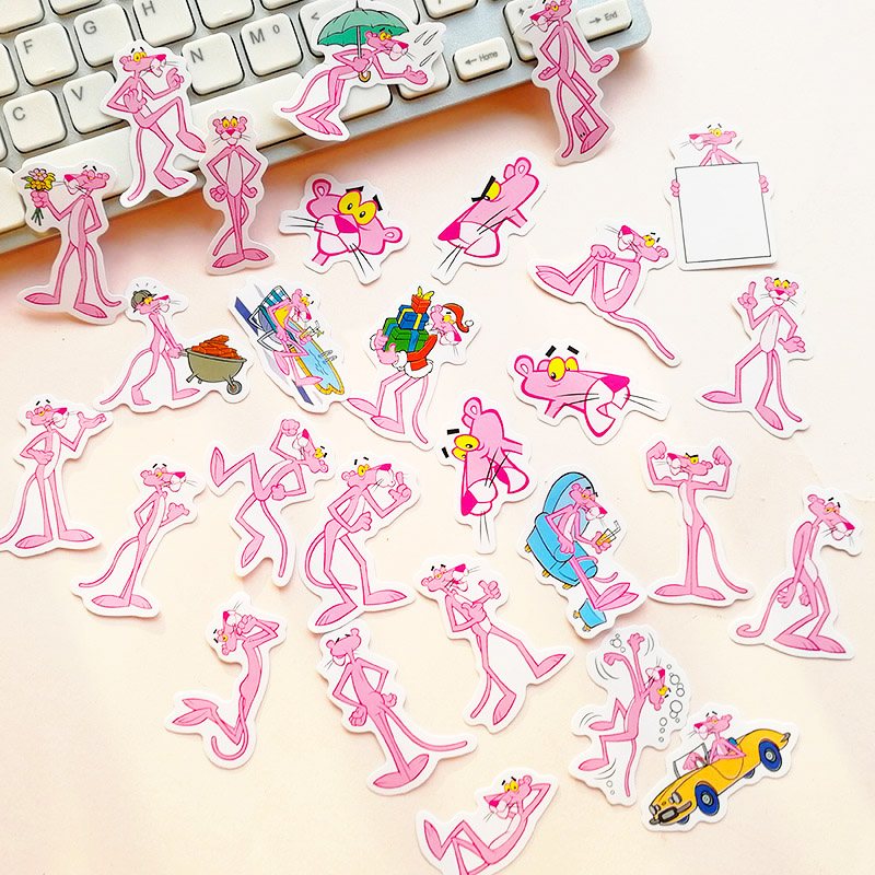 Cute Kawaii Cartoon Animal Pink Panther Decorative Stationery Handmade Adhesive Paper Flake Stickers DIY Diary Album Scrapbook
