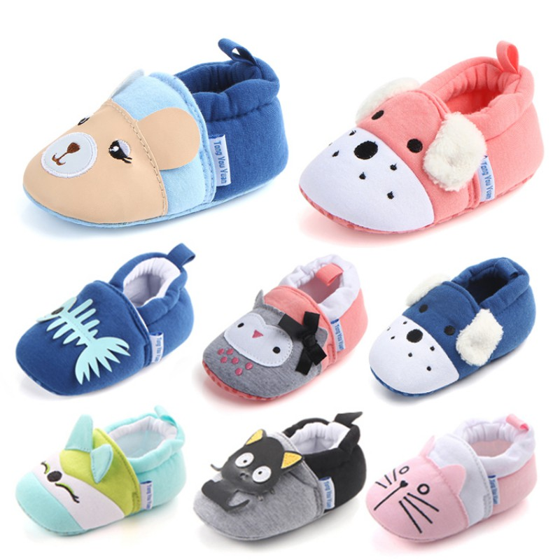 Newborn Baby Boys Girls Animal Shoes Infant Cartoon Soft Sole Non-slip Cute Warm Animal Baby Shoes