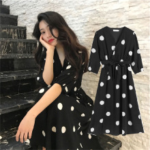 zaraing style woman 2020 dot dress v-neck split sexy French chiffon dre