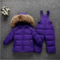 Girls down parkas clothes sets winter kids warm snow wear tracksuits for boys children doorout thick clothing hoodies+bib pants