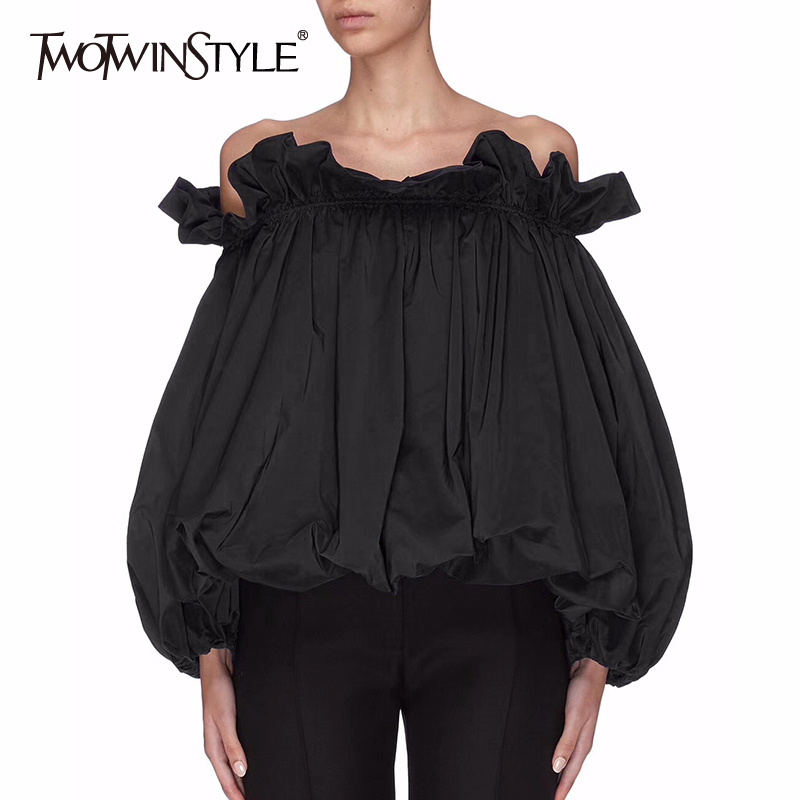 TWOTWINSTYLE Casual Patchwork Ruffles Women Shirt Slash Neck Lantern Long Sleeve Loose Ruched Elegant Blouse For Female Clothing