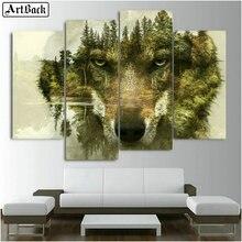 Diamond painting wolf tree landscape full square animal decoration diy diamond mosaic sticker crafts