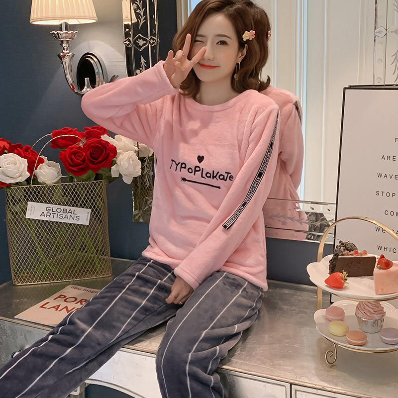 Betyline 2019 New Winter Pajamas For Women Sleepwear Warm Flannel Long Sleeves Pajamas Cute Animal Homewear Thick Homewear 147
