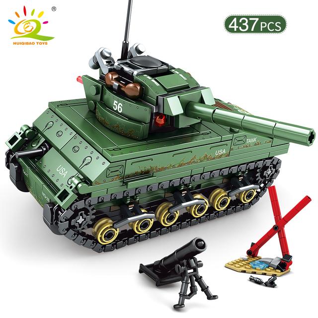 HUIQIBAO 437pcs WW2 US M4 Sherman Tanks Building Blocks Army Soldier Military Model Bricks Construction Toys for children boy