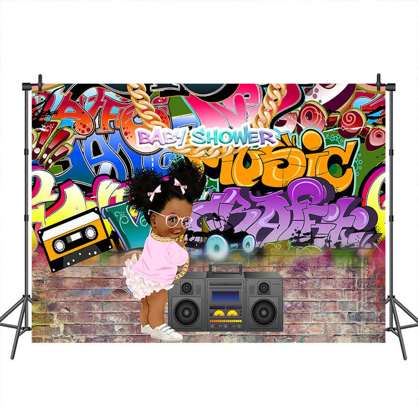 Neoback Baby Shower фотографический фон Граффити стиль Brich настенные фоны хип-хоп Африка Девушка фон для фотостудии